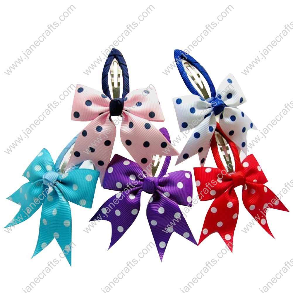 "2"" Assorted Color Pinwheel Ribbon Tail Bow with Covered Hair Snap 10pcs"