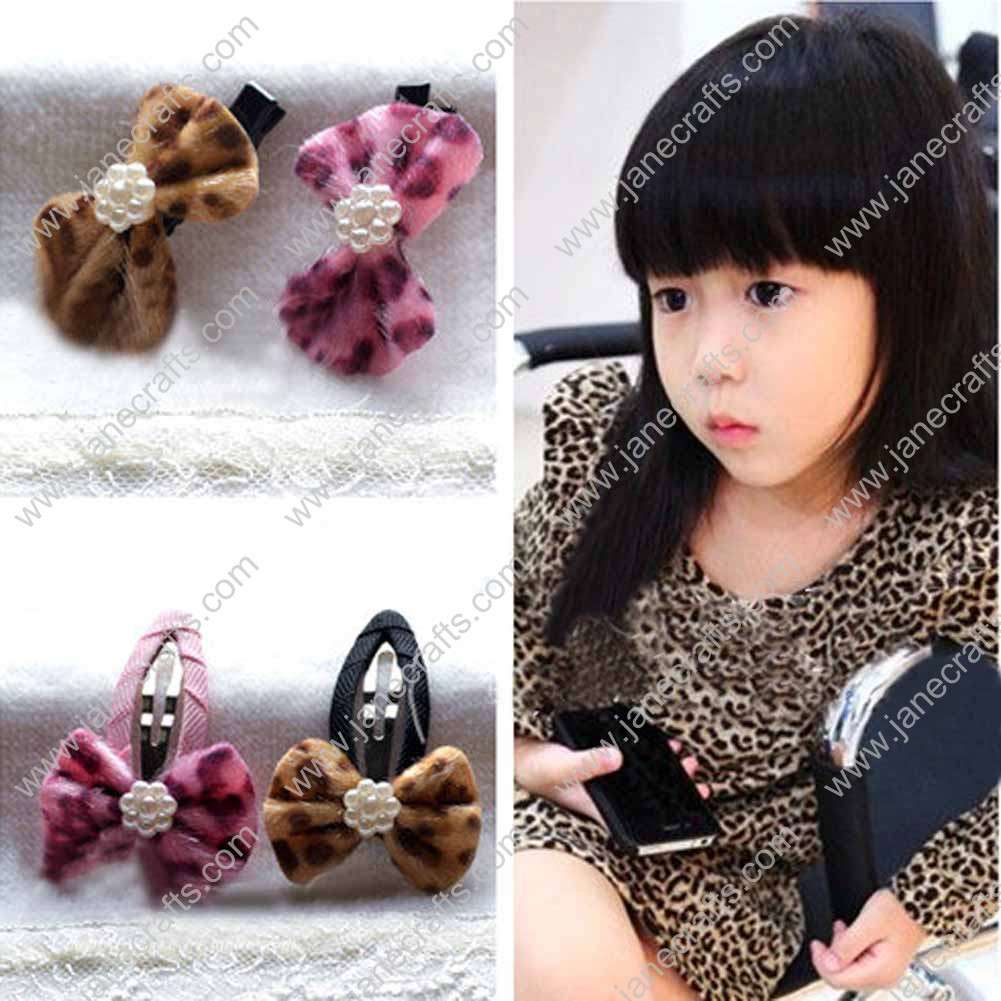 "2"" Leopard Velvet Bow with Black Alligator or Covered Hair Snap 8pcs"