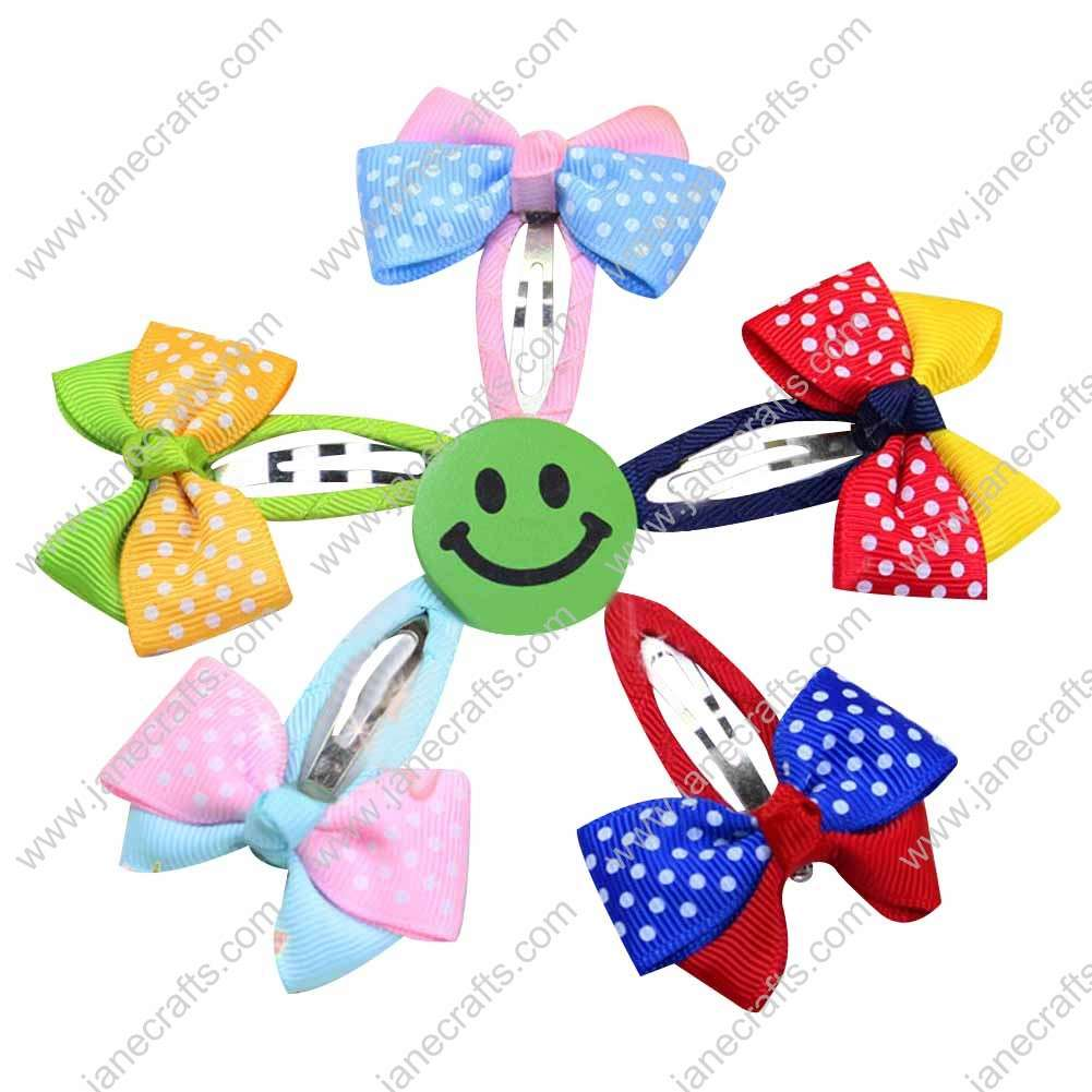 "2"" Assorted Color Two Tone Swiss Dot Ribbon Bow with Ribbon Covered Snap 10pcs"