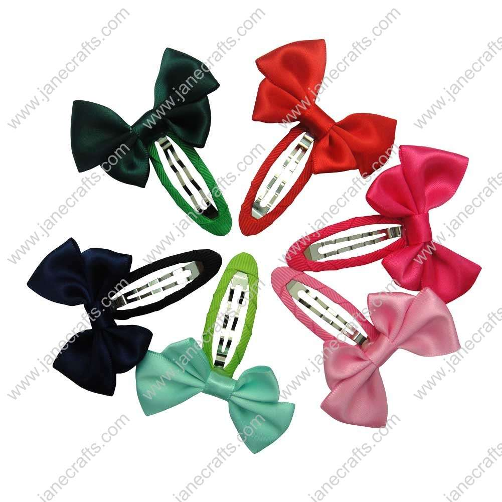 "Cute 2"" Satin Girl Bow with Covered Hair Snap 12pcs"