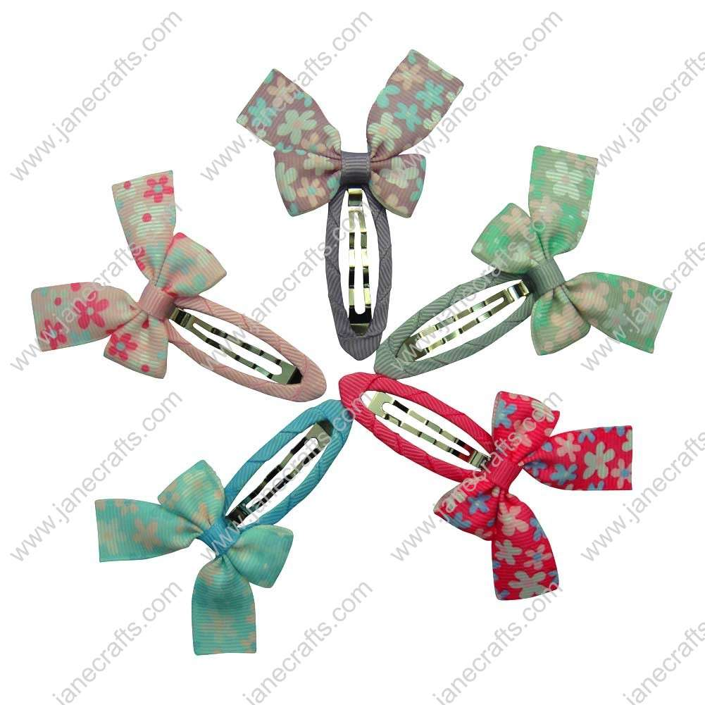 "Cute 2"" Flower Ribbon Girl Bow with Covered Hair Snap 10pcs"