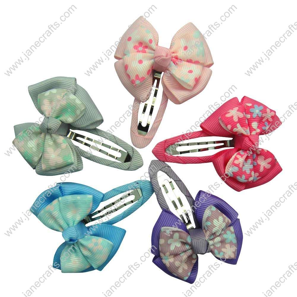 "Cute 2"" Flower Printed Layered Bow with Covered Hair Snap 10pcs"