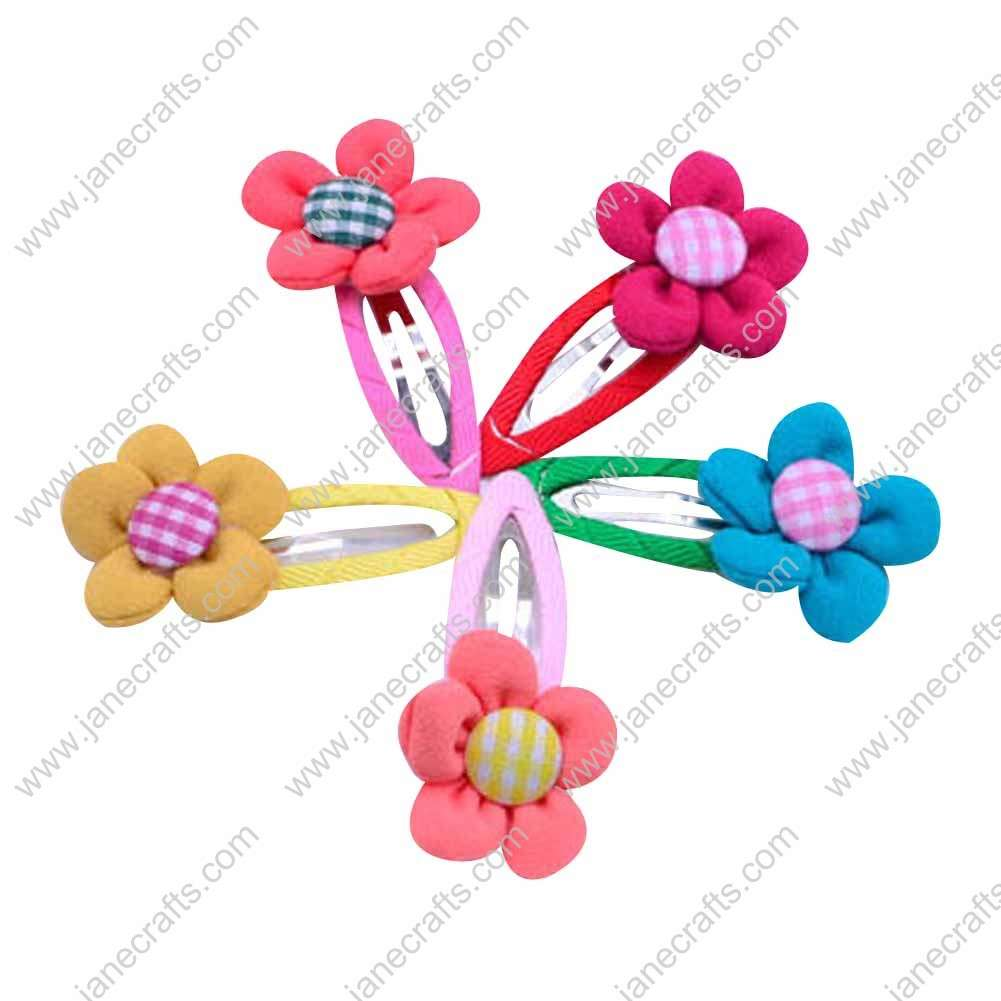 "Cute 2"" Assorted Color Fabric Button Flower with Covered Hair Snap 10pcs"