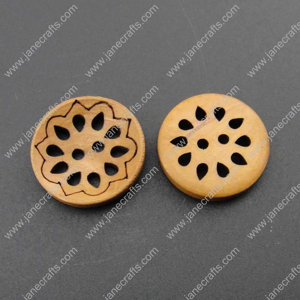 100pcs 23mm Lt.Brown Round Wood Sewing Button Scrapbooking