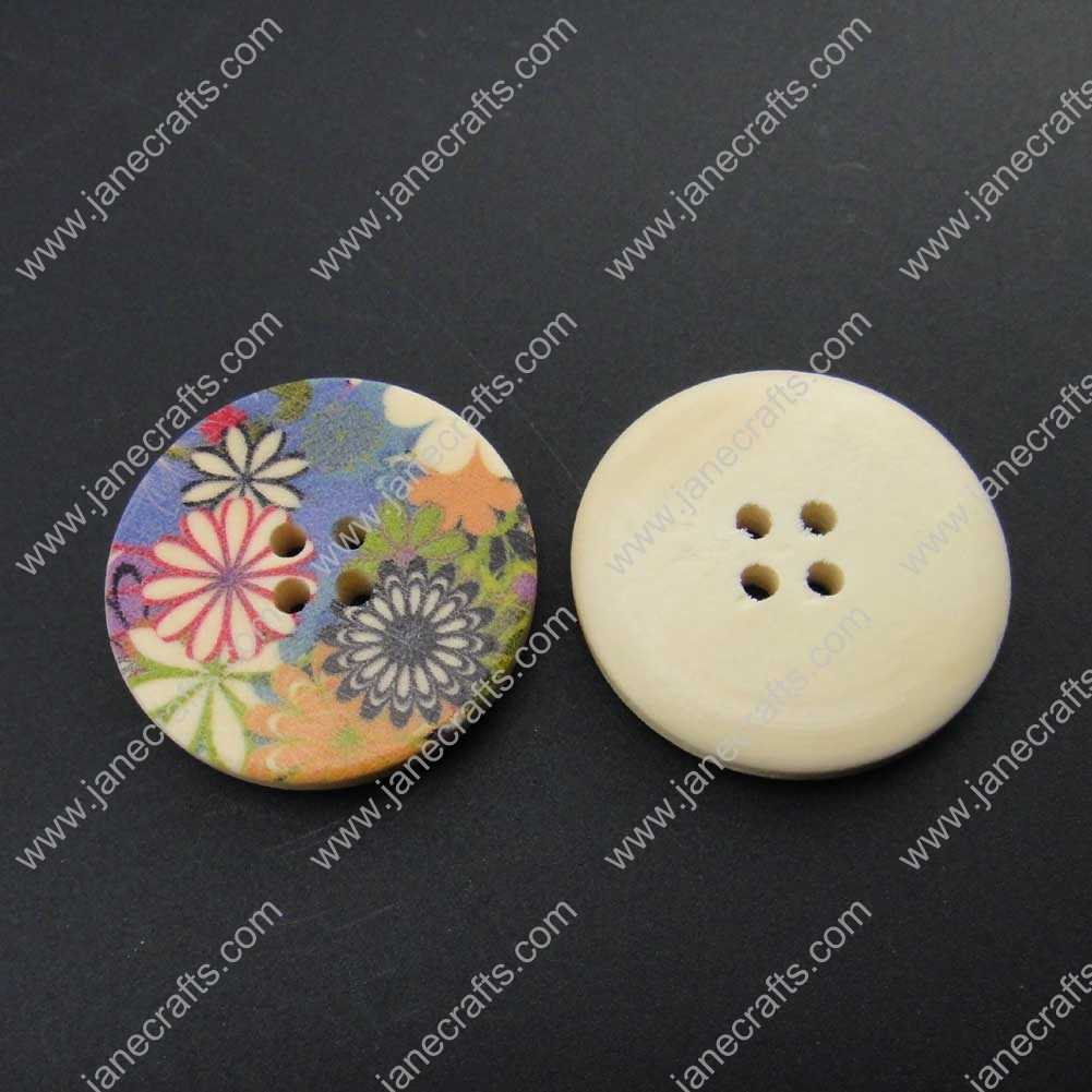 100pcs 30mm Round Printed Colorful Wood Sewing Button Scrapbooking