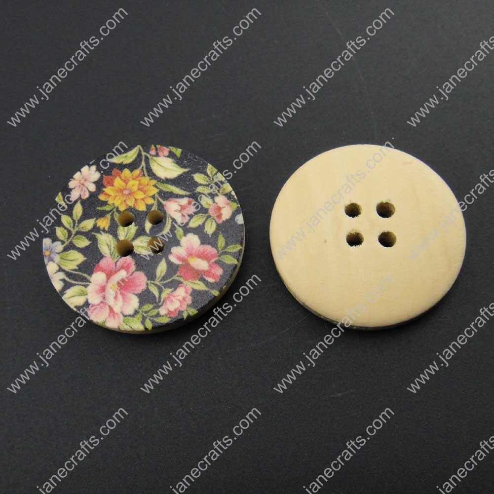 100pcs 30mm Round Printed Wood Sewing Button Scrapbooking