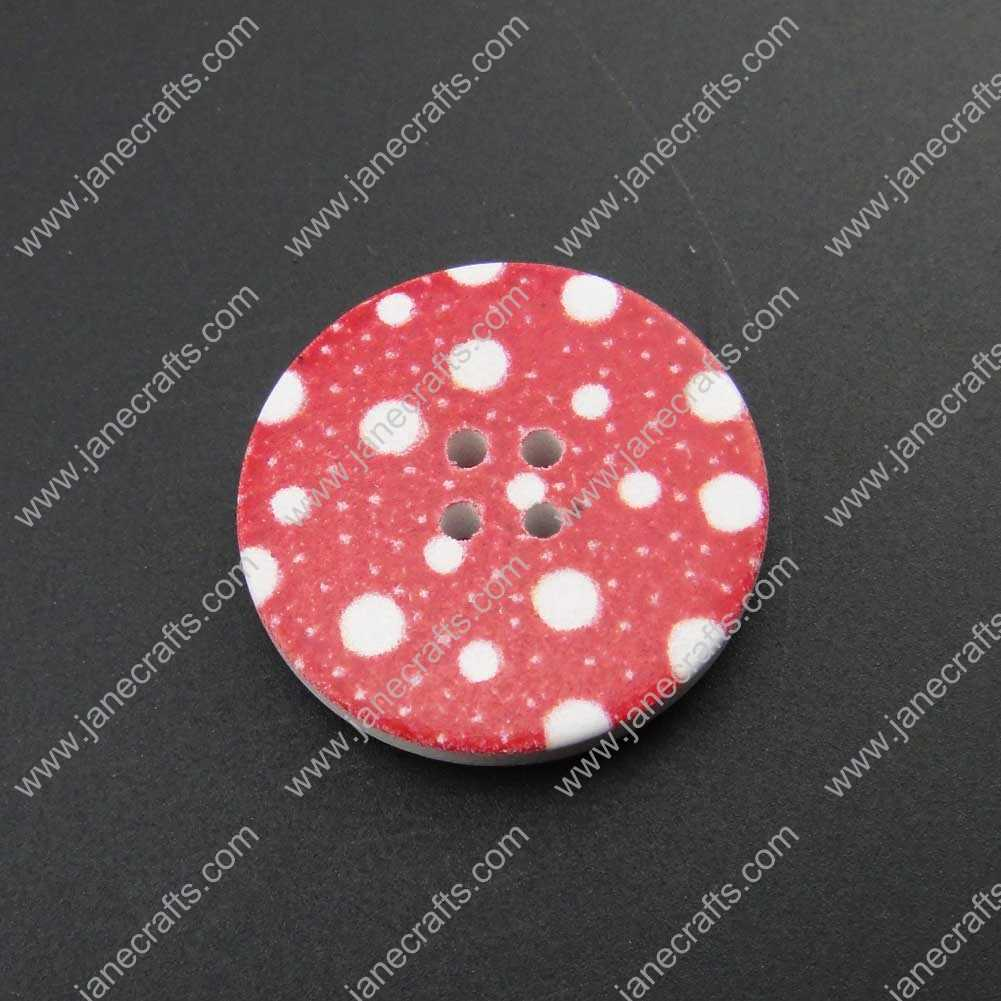300pcs 30mm Round Red With White Dots Wood Sewing Button Scrapbooking
