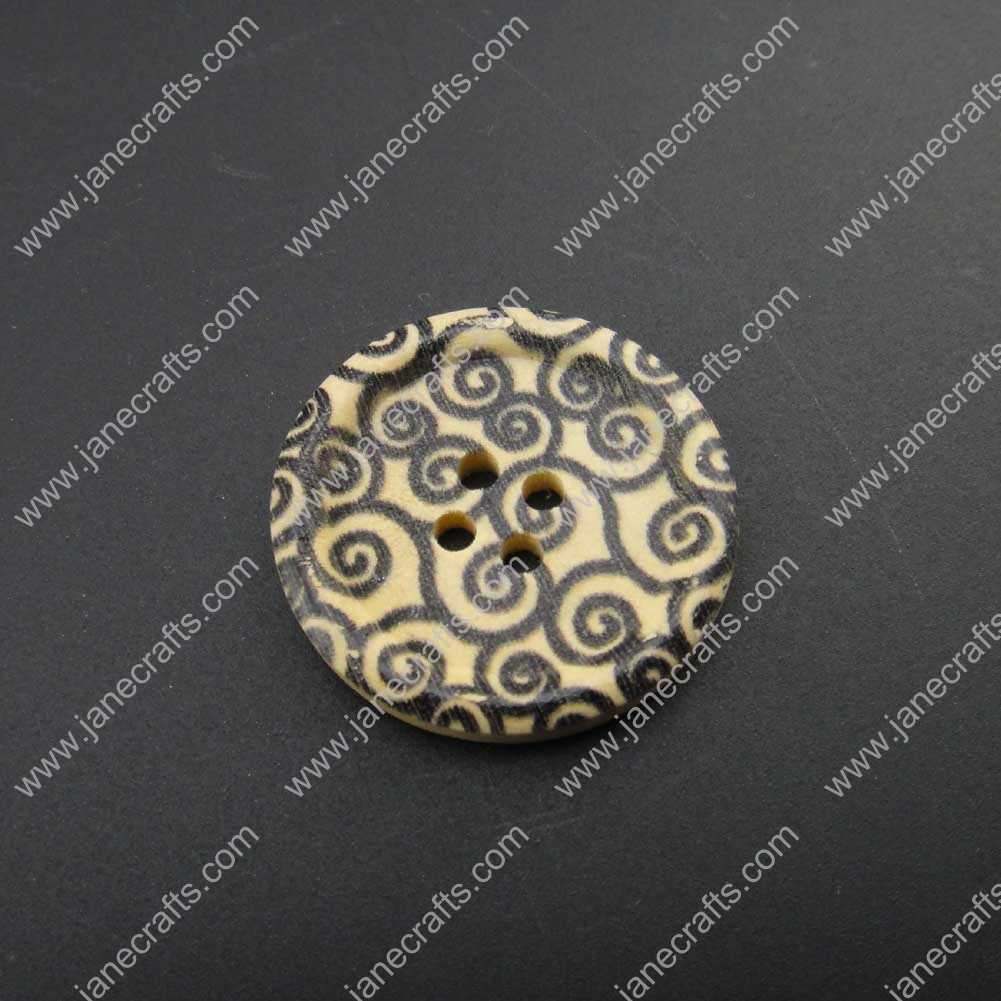 300pcs 30mm Round Black Flower Printed Wood Sewing Button Scrapbooking