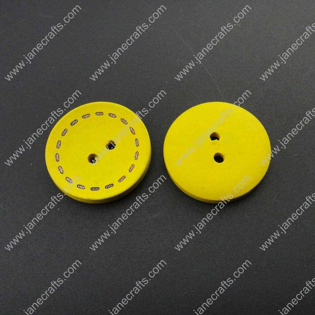 300pcs 25mm Round Yellow Wood Sewing Button Scrapbooking
