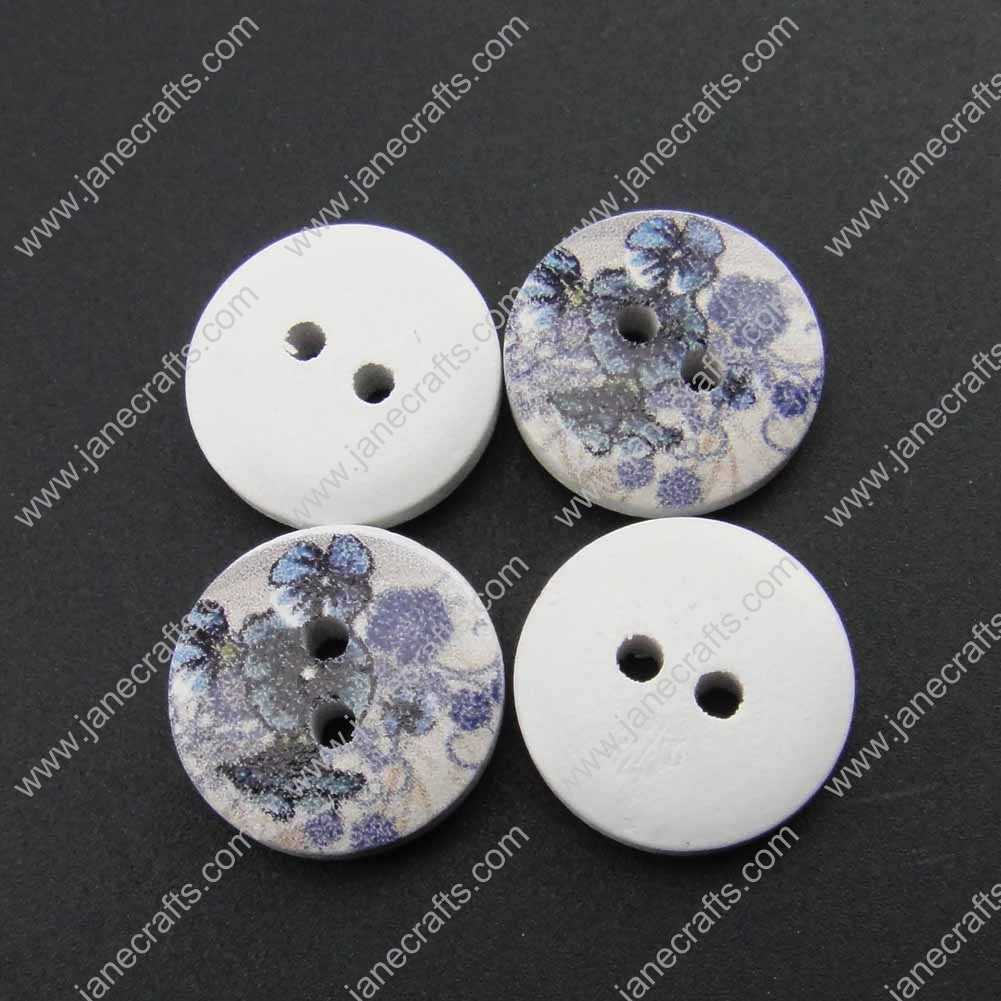 100pcs 15mm Round Printed Wood Sewing Button Scrapbooking