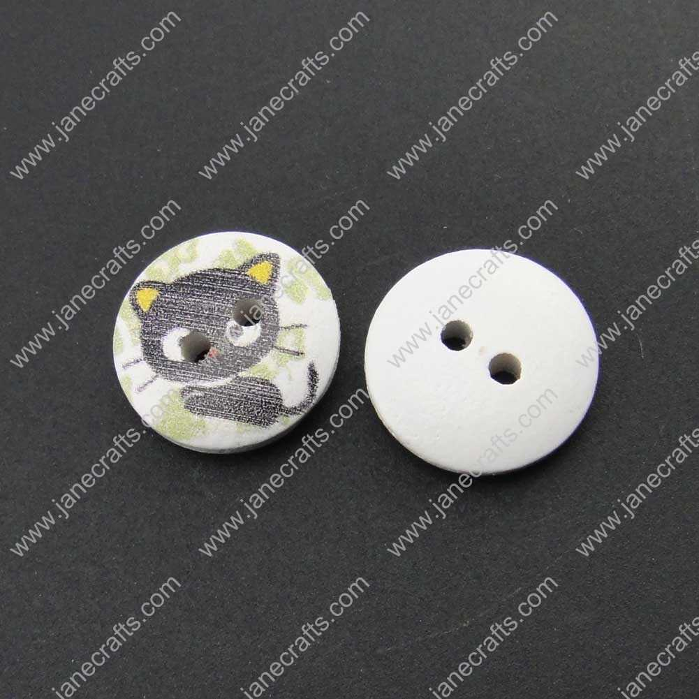 300pcs 15mm Round Printed Wood Cats Sewing Button Scrapbooking