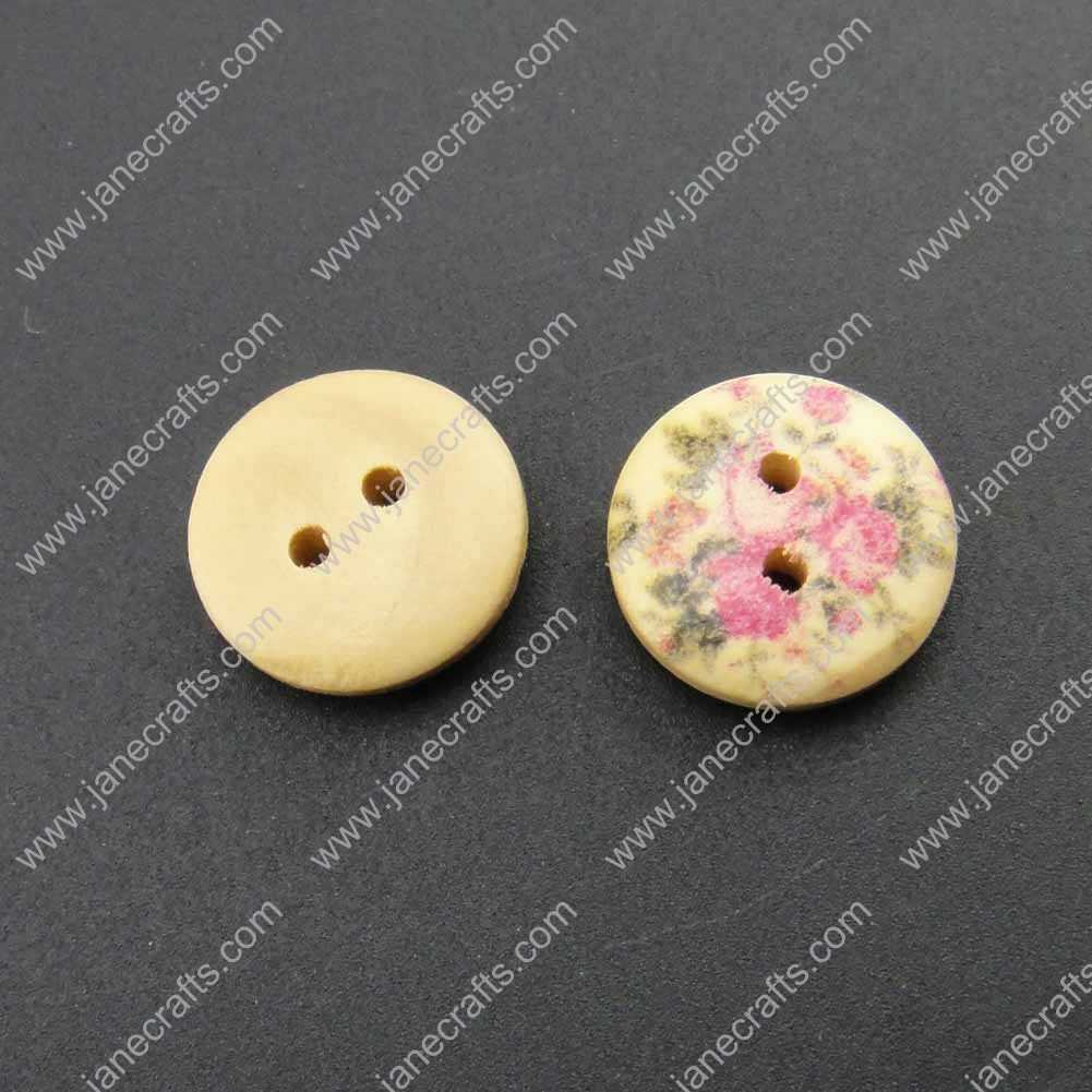 300pcs 15mm Round Rose Printed Wood Sewing Button Scrapbooking