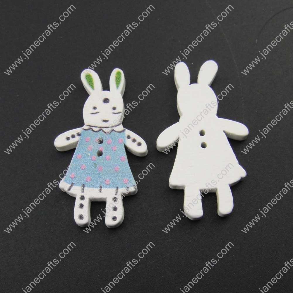 300pcs 36mm*20mm Wood Rabbit Sewing Button Scrapbooking
