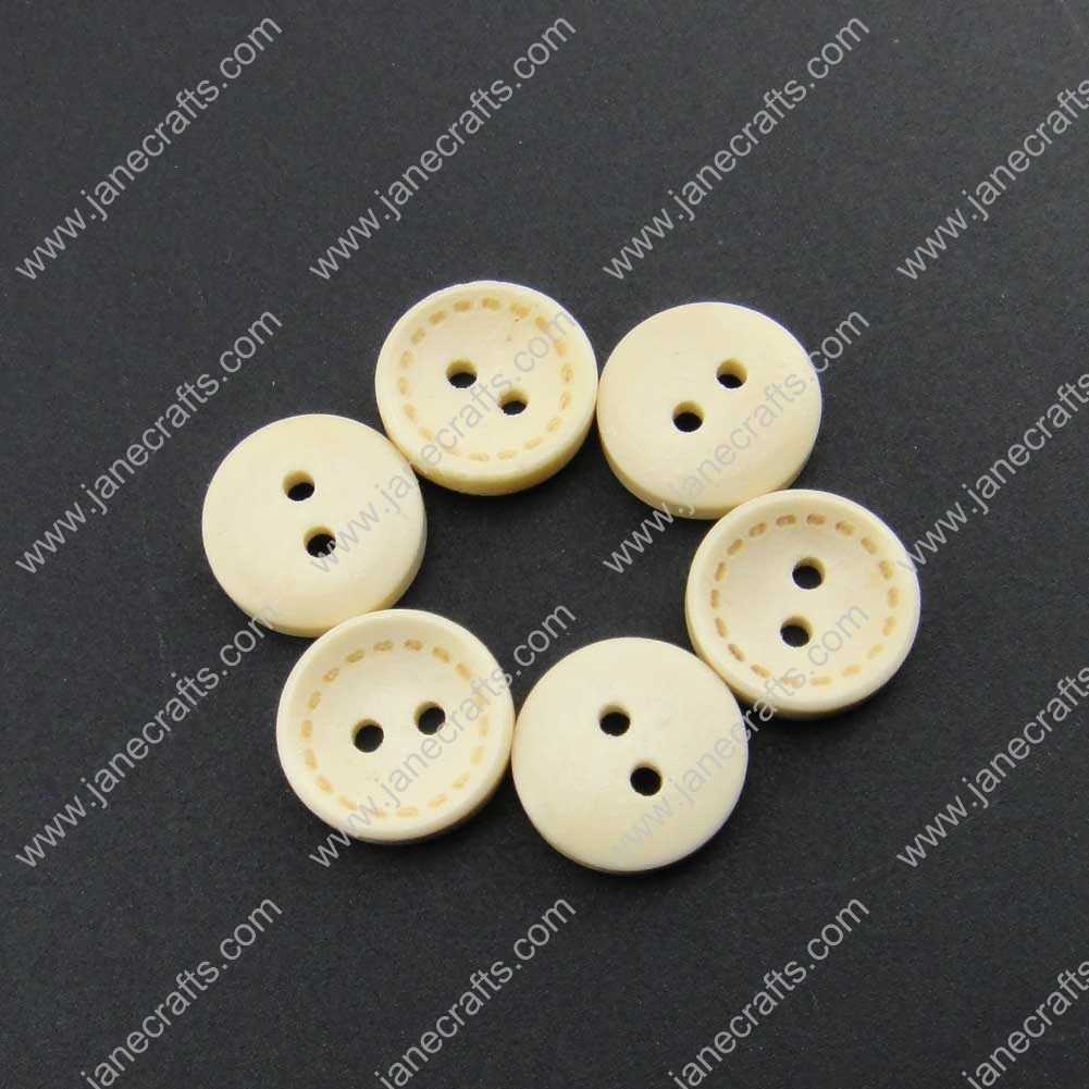 100pcs 13mm Round Beige Wood Sewing Button Scrapbooking